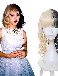 cheap -melanie martinez wig half blonde and black culy medium long cosplay wigs women s party wigs heat resistance hair sia hairstyle Halloween