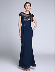 cheap -Mermaid / Trumpet Formal Evening Dress Illusion Neck Short Sleeve Floor Length Chiffon with Crystals Appliques 2020
