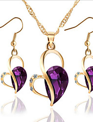 cheap -Women's Crystal Synthetic Diamond Jewelry Set Heart Ladies Earrings Jewelry Purple / Green / Blue For Party Daily