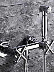 cheap -Bidet Faucet - Pre Rinse Chrome Wall Mounted Two Holes / Two Handles Two HolesBath Taps