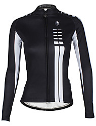 cheap -ILPALADINO Women's Long Sleeve Cycling Jersey Winter Fleece Polyester Terylene Black Orange Yellow Plus Size Bike Jersey Mountain Bike MTB Road Bike Cycling Thermal / Warm Waterproof Windproof Sports