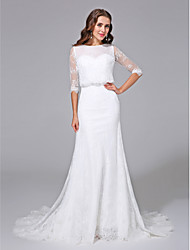 cheap -Mermaid / Trumpet Scoop Neck Court Train Satin / Lace Over Tulle Half Sleeve Simple Backless / Illusion Sleeve Wedding Dresses with Beading 2020 / Royal Style