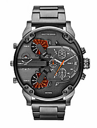 cheap -Men's Wrist Watch Black Calendar / date / day Dual Time Zones Cool Analog Luxury Classic Vintage Casual Fashion - Gray Two Years Battery Life