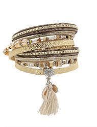 cheap -Women's Charm Bracelet Wrap Bracelet Leather Bracelet Tassel Heart Love Ladies Personalized Luxury Vintage Bohemian Leather Bracelet Jewelry Black / Beige For Anniversary Gift Daily Casual Valentine