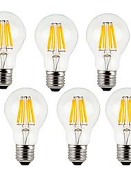 cheap -KWB 6pcs 7 W LED Filament Bulbs 760 lm E26 / E27 A60(A19) 8 LED Beads COB Decorative Warm White Cold White 220-240 V / 6 pcs / RoHS