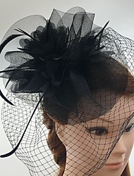 cheap -Tulle / Feather / Net Fascinators / Headwear / Birdcage Veils with Floral 1pc Wedding / Special Occasion / Casual Headpiece
