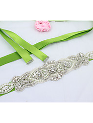 cheap -Satin Wedding / Party / Evening / Dailywear Sash With Rhinestone / Imitation Pearl / Beading Women's Sashes