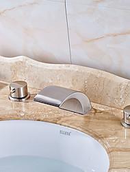 cheap -Modern Widespread Waterfall Ceramic Valve Two Handles Three Holes Nickel Brushed, Bathroom Sink Faucet