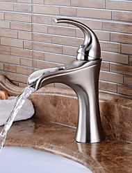 cheap -Bathroom Sink Faucet - Waterfall / Widespread Nickel Brushed Centerset Single Handle One HoleBath Taps / Brass