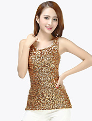 cheap -Latin Dance Tops Women's Training Sequined Sequin Sleeveless Natural Top