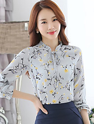 cheap -Women's Daily Weekend Street chic Shirt - Floral Print Stand Yellow