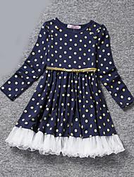 cheap -Toddler Girls' Dot Polka Dot Long Sleeve Dress Blue