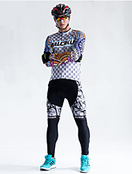 cheap -Malciklo Men's Long Sleeve Cycling Jersey with Tights Winter Fleece Coolmax® Lycra Plaid / Checkered Bike Tights Breathable 3D Pad Quick Dry Back Pocket Sports Plaid / Checkered Mountain Bike MTB
