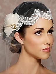 Недорогие -Один слой Обрезанная кромка Свадебные вуали Головные украшения с вуалью С Органза