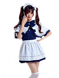 cheap -Maid Costume Career Costumes Waiter / Waitress Cosplay Costume Party Costume Women's Movie Cosplay Maid Uniforms Black / White / Blue Dress Headwear Halloween Carnival Polyester