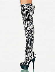 cheap -Women's Boots Over-The-Knee Boots Stiletto Heel / Platform Round Toe Zipper Customized Materials Over The Knee Boots Novelty / Fashion Boots Fall / Winter Zebra / Party & Evening / Knee High Boots