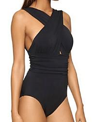 cheap -Women's Sporty Basic Halter Neck Black Wrap Cheeky One-piece Swimwear - Solid Colored Criss Cross L XL XXL Black / Sexy