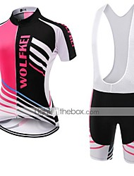 cheap -WOLFKEI Women's Short Sleeve Cycling Jersey with Bib Shorts Black / Pink Plus Size Bike Clothing Suit Breathable Quick Dry Back Pocket Sweat-wicking Sports Coolmax® Mesh Silicon Classic Road Bike