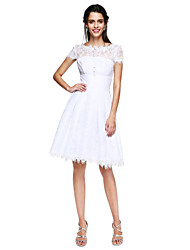cheap -A-Line Fit & Flare Open Back Cute Cocktail Party Prom Dress Illusion Neck Short Sleeve Knee Length Lace with Buttons Pleats 2020