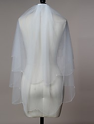 cheap -Two-tier Beaded Edge / Scalloped Edge Wedding Veil Elbow Veils / Fingertip Veils with Beading Tulle / Classic