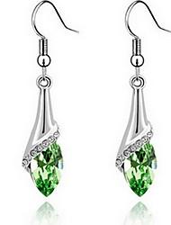 cheap -Women's Sapphire Cubic Zirconia Earrings Hanging Earrings Cheap Ladies Fashion Zircon Earrings Jewelry Red / Green / Blue For Daily Casual