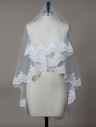 cheap -One-tier Lace Applique Edge Wedding Veil Blusher Veils / Elbow Veils / Fingertip Veils with Tulle / Oval