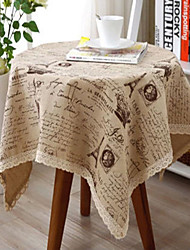 cheap -Rectangular Patterned Table Cloth , Linen / Cotton Blend Material Dinner Decor Home Decoration Hotel Dining Table Wedding Party