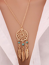 cheap -Women's Turquoise Pendant Necklace Long Necklace Leaf Wings Feather Dream Catcher Statement Ladies Tassel Bohemian Gold Plated Turquoise Alloy Golden Necklace Jewelry For Christmas Gifts Daily Casual
