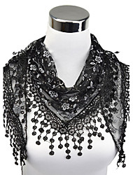 cheap -Women's Work Lace Rectangle Scarf - Floral Cut Out / Tassel / Fabric