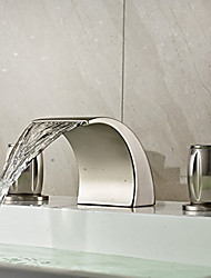 cheap -Bathroom Sink Faucet - Waterfall Nickel Brushed Widespread Two Handles Three HolesBath Taps / Brass
