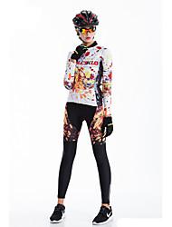 cheap -Malciklo Women's Long Sleeve Cycling Jersey with Tights Winter Fleece Coolmax® Lycra Rainbow Bike Tights Breathable 3D Pad Quick Dry Back Pocket Sports Graffiti Mountain Bike MTB Road Bike Cycling