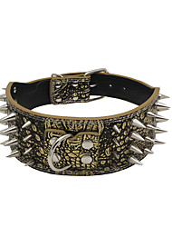 cheap -Cat Dog Collar Adjustable / Retractable Studded Rock Music PU Leather Brown Gold Green