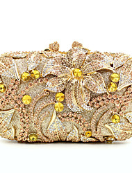 cheap -Women's Crystal / Rhinestone Metal Evening Bag Floral Print Black / Black / Red / Golden