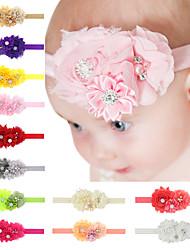 cheap -baby chiffon headband handmade flower hair accessories with rhinestone in center
