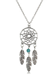 cheap -Women's Turquoise Pendant Necklace Y Necklace Long Necklace Tassel Leaf Wings Flower Feather Dream Catcher Ladies Tassel Vintage Bohemian Gold Plated Turquoise Alloy Silver Necklace Jewelry For