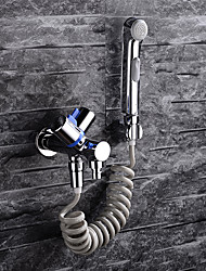 cheap -Bidet Faucet - Pre Rinse Chrome Wall Mounted Two Holes / Single Handle Two HolesBath Taps / Brass