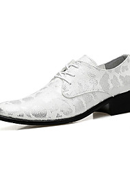 cheap -Men's Formal Shoes Microfiber Spring / Fall Casual Oxfords Walking Shoes Slip Resistant Black / Gold / Silver / Wedding / Party & Evening / Lace-up / Party & Evening / Leather Shoes