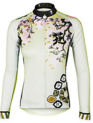 abordables -ILPALADINO Femme Manches Longues Maillot Velo Cyclisme Violet Rose Claire Vert clair Floral Botanique Grandes Tailles Cyclisme Maillot Hauts / Top VTT Vélo tout terrain Vélo Route Respirable Séchage