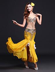 cheap -Belly Dance Outfits Women's Performance Spandex / Milk Fiber Sequin / Split Front Sleeveless Natural Skirt