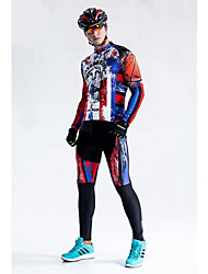 cheap -Malciklo Men's Long Sleeve Cycling Jersey with Tights Winter Fleece Coolmax® Lycra USA Bike Tights Breathable 3D Pad Quick Dry Back Pocket Sports USA Mountain Bike MTB Road Bike Cycling Clothing