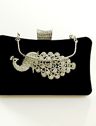cheap -Women's Bags Velvet Evening Bag Crystal / Rhinestone Solid Colored Wedding Party Event / Party Camel Black Purple Red