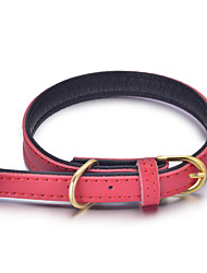 cheap -Cat Dog Collar Adjustable / Retractable Handmade Solid Colored Christmas Genuine Leather Red Blue Pink