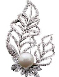 Недорогие -Женский Броши Pоскошные ювелирные изделия Циркон Цирконий В форме листа Бижутерия Назначение Повседневные