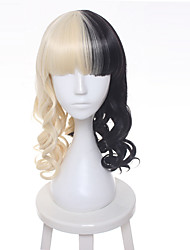 cheap -fashion wig melanie martinez half blonde and black culy cosplay wigs heat resistance fiber Halloween