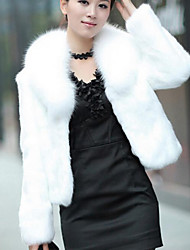 cheap -Women's Causal / Holiday Chic & Modern Winter Short Fur Coat, Solid Colored Shawl Lapel Long Sleeve Faux Fur Modern Style White / Black