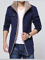 cheap -Men's Daily Basic Winter Regular Jacket, Solid Colored Shirt Collar Long Sleeve Faux Fur / Polyester Black / Navy Blue / Khaki / Slim
