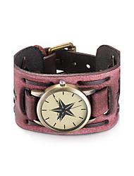 cheap -Women's Fashion Watch Bracelet Watch Wrist Watch Quartz Water Resistant / Water Proof Leather Band Analog Vintage Bohemian Bangle Black / Red - Black Dark Red