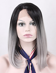 cheap -Synthetic Lace Front Wig Straight Straight Lace Front Wig Black / Grey Synthetic Hair Women's Natural Hairline Black