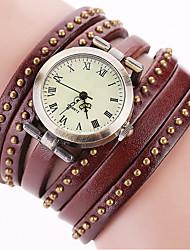 cheap -Women's Bracelet Watch Wrist Watch Quartz Leather Black / White / Blue Cool Punk Analog Ladies Charm Sparkle Vintage Dot - Red Green Blue