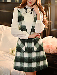 cheap -Women's Daily / Holiday / Going out Vintage / Sophisticated A Line / Sheath Dress - Patchwork Backless Deep V Fall Cotton Green M L XL